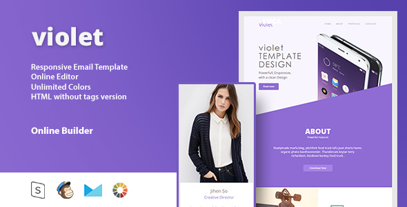 violet - Responsive Email Template + Online Editor