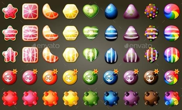 Fruit Candies Match Three Puzzle Game Set (Sprites)