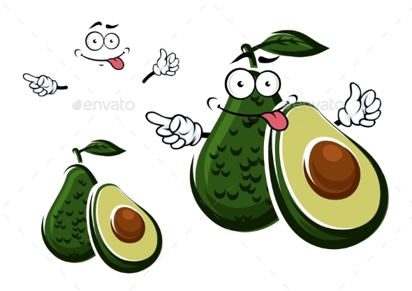 Avocado Fruit Character And Seed With Cut