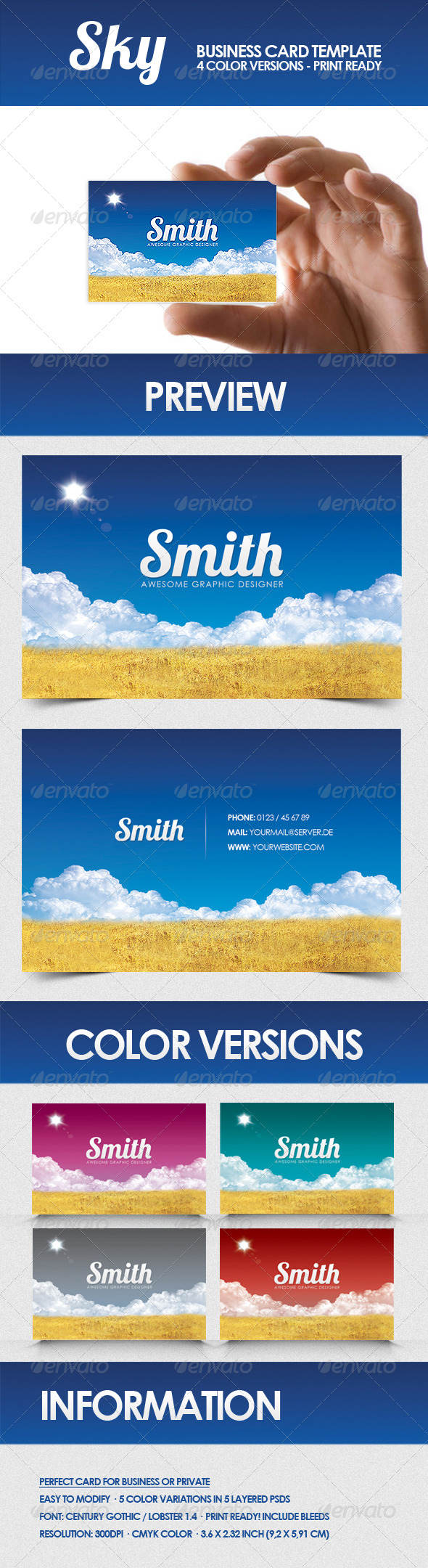 Sky - Business Card Template - Creative Business Cards