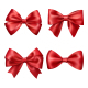 Set Collection of Festive Red Satin Bows Isolated