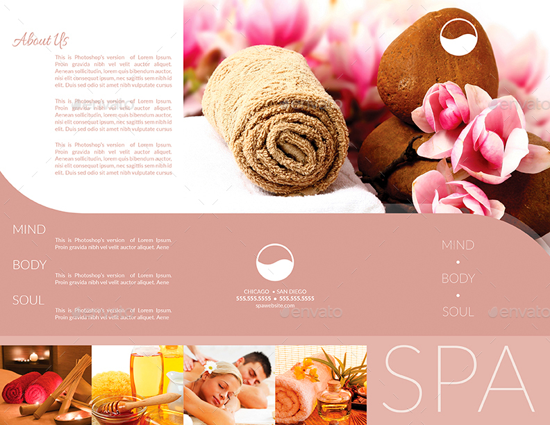 spa brochure templates free - tri fold brochure business card templates spa by