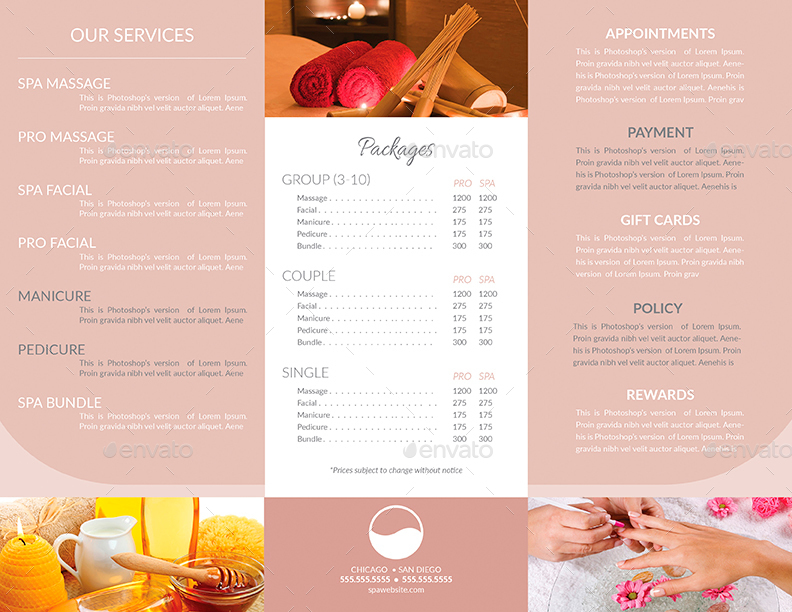 spa brochure template - tri fold brochure business card templates spa by