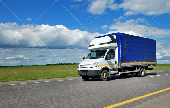 Stock Photo - PhotoDune Delivery minitruck with white cabin and blue trailer 1305605