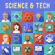 Science and Technology Flat Icons with Long Shadow