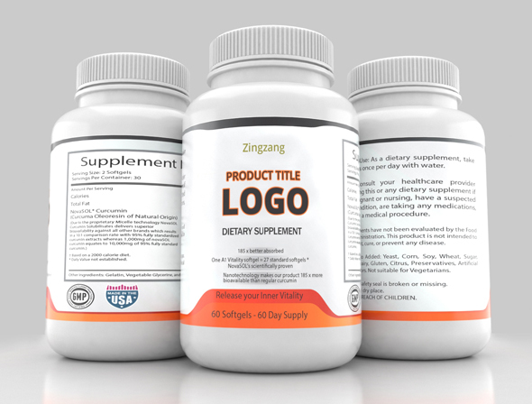 Three Sided Supplement Bottle - 3DOcean Item for Sale