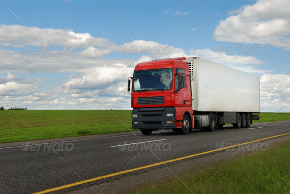 Stock Photo - PhotoDune red lorry truck with trailer 1306069