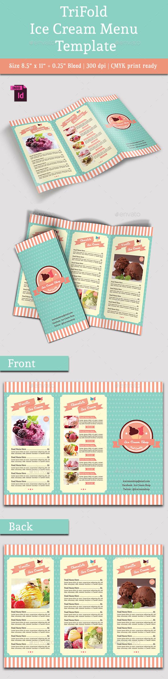 TriFold Ice Cream Menu Template Vol. 2