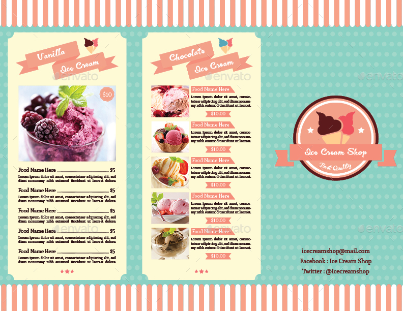 Trifold Ice Cream Menu Template Vol 2 By Avindaputri