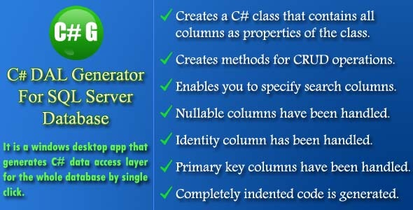 CodeCanyon C# DAL Generator 13003064
