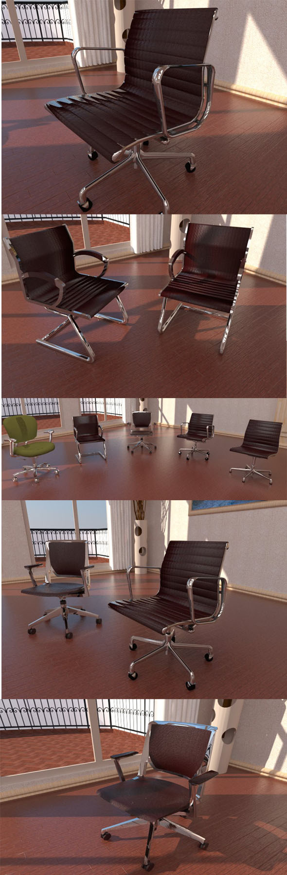 Office chairs collection - 3DOcean Item for Sale