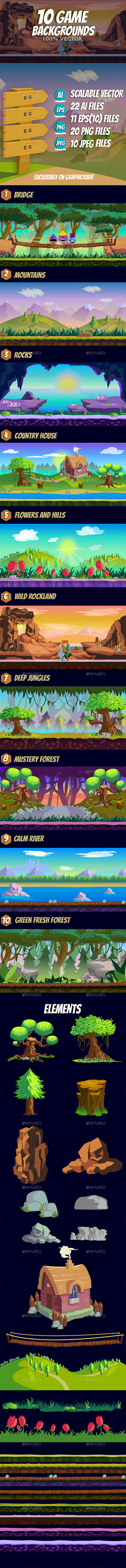 Pine Forest Mountain Game Background (Backgrounds)