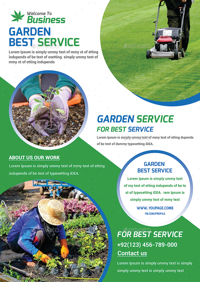 Garden services flyer template by afjamaal graphicriver for Garden maintenance flyer template