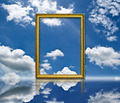 Photo frame on the blue sky field. - PhotoDune Item for Sale