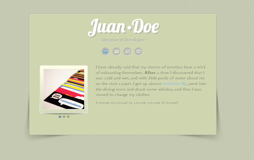 All Down the Line: A Mini vCard site for Tumblr - Home Page