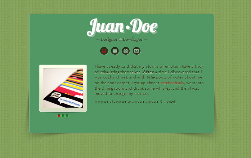 All Down the Line: A Mini vCard site for Tumblr - Green Color Scheme