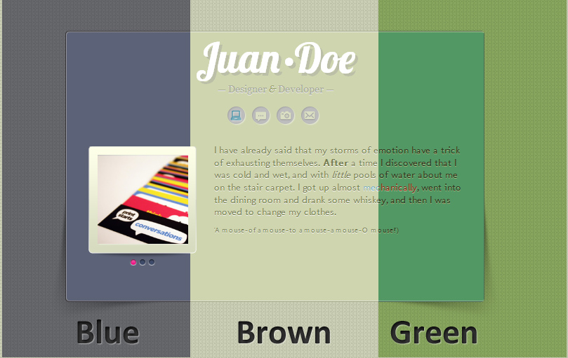 All Down the Line: A Mini vCard site for Tumblr - 3 Color Schemes