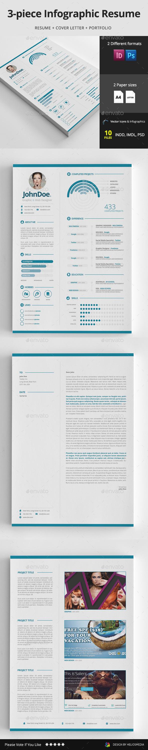 3-piece Infographic Resume / CV