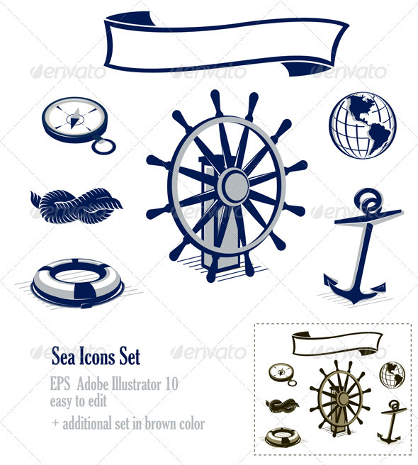 Sea Icons Set - Decorative Symbols Decorative