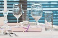 catering table with stemware