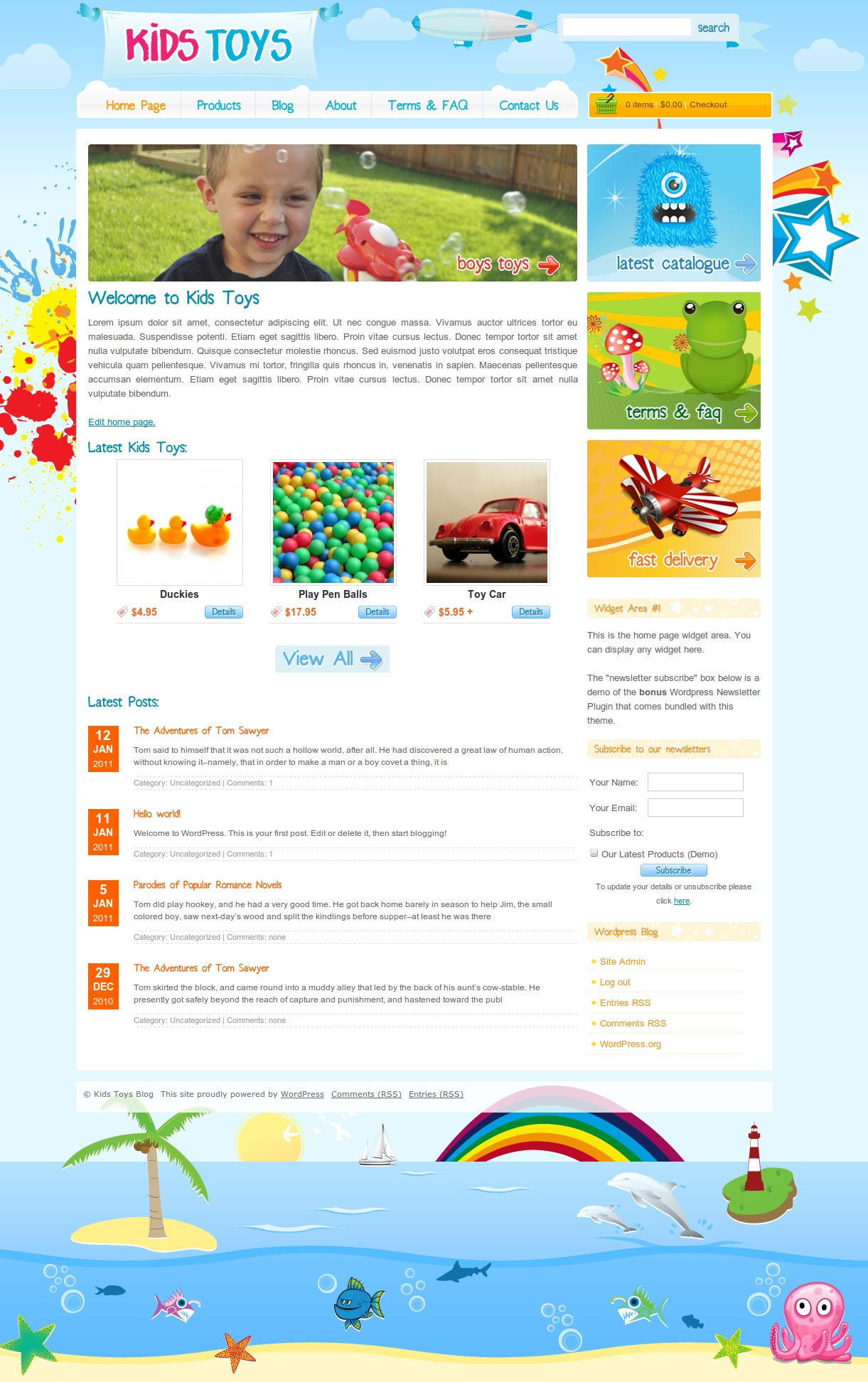 Kids Toys - WordPress Shop & Newsletter - Full screenshot of the home page.