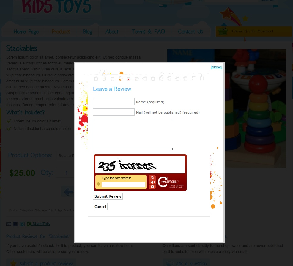 Kids Toys - WordPress Shop Theme - This is a preview of the 'lighbox' submit review on product pages. This is the same as posting a comment on a wordpress blog post. Reviews are sent for moderation, and display underneath the product. Notice the funky captcha as well :)