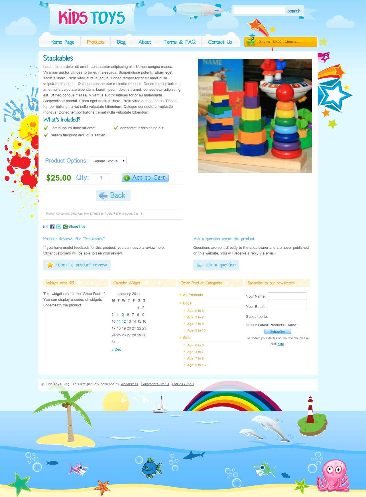 Kids Toys - WordPress Shop Theme - A full screen preview of the products page, with some widgets down the bottom.
