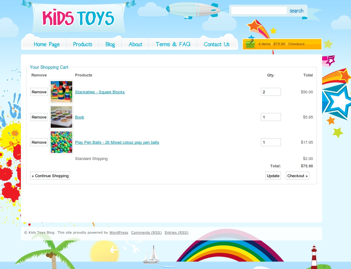 Kids Toys - WordPress Shop Theme - Here is the wordpress shopping cart checkout page, with 3 example products and a shipping option. They can update quantities and see pictures of their products.