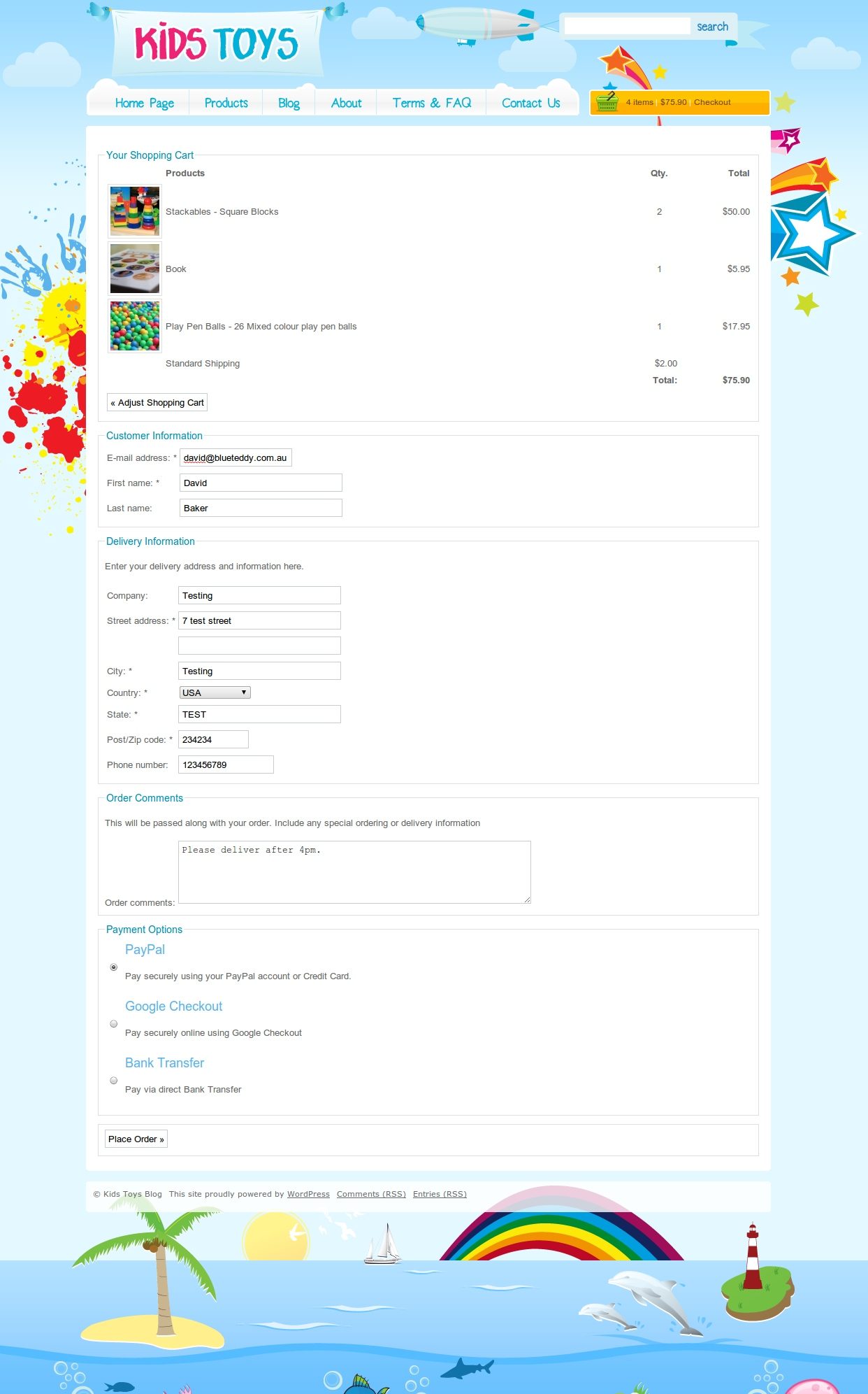 Kids Toys - WordPress Shop Theme - Here is a screenshot of the full checkout page, asking for all the details (including shipping details)