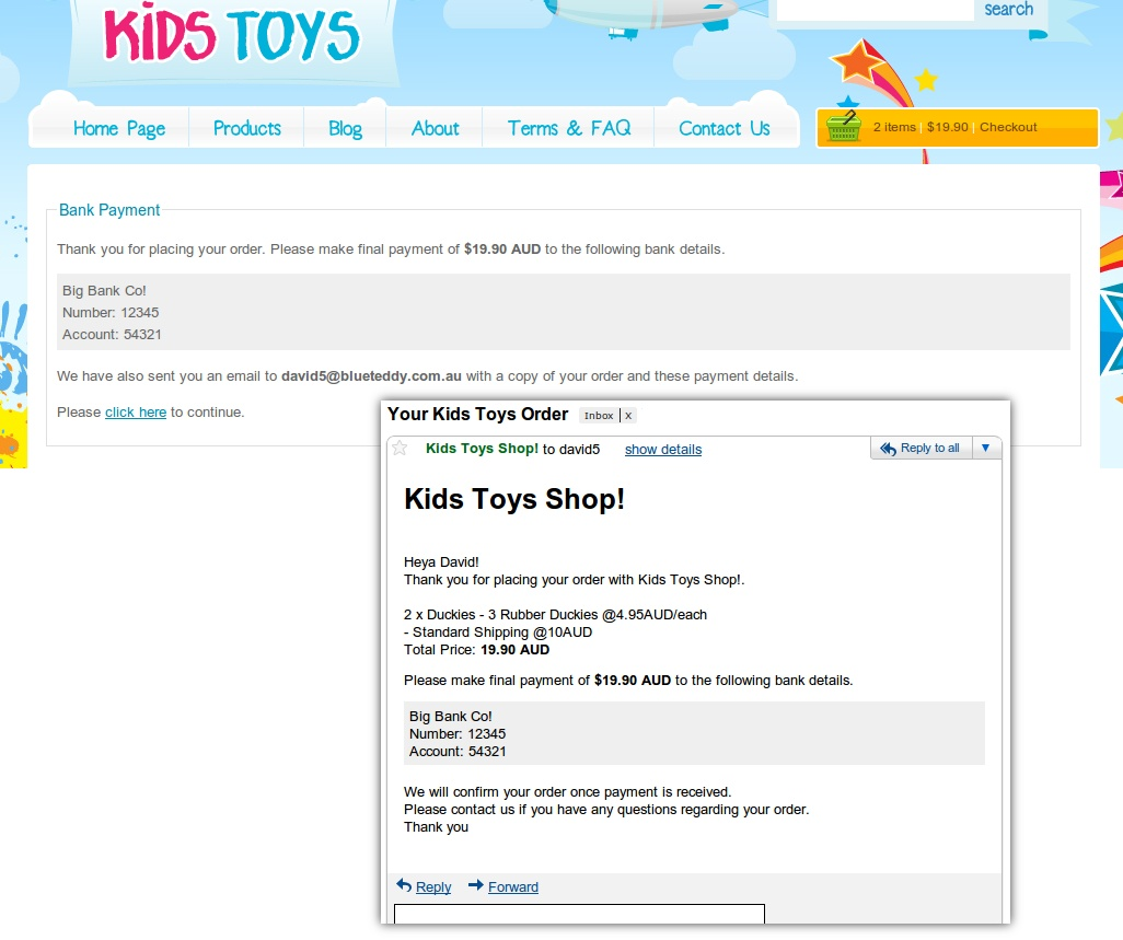 Kids Toys - WordPress Shop Theme - Here is an example of the final 'checkout' page selecting bank transfer option. And the email which is sent to the customer.