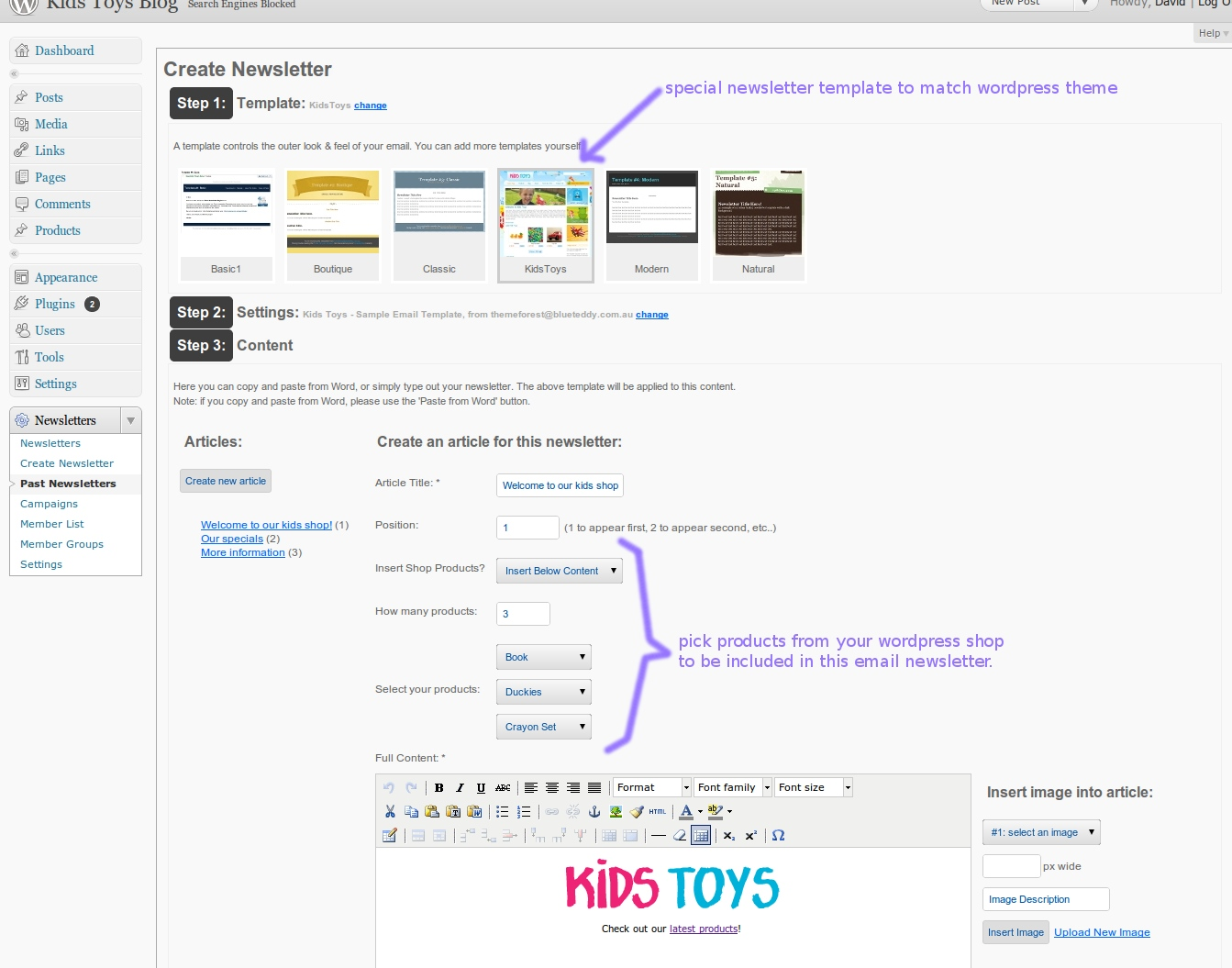 Kids Toys - WordPress Shop & Newsletter - Here is a screenshot of sending a newsletter out to all your customers, automatically including a few products from your shop!! WOW!