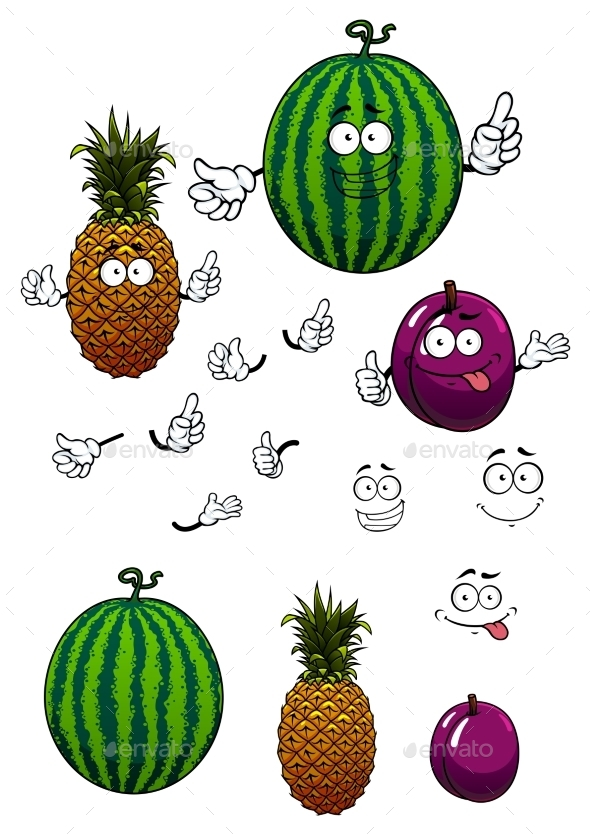 Cartoon Watermelon, Pineapple And Plum Fruits