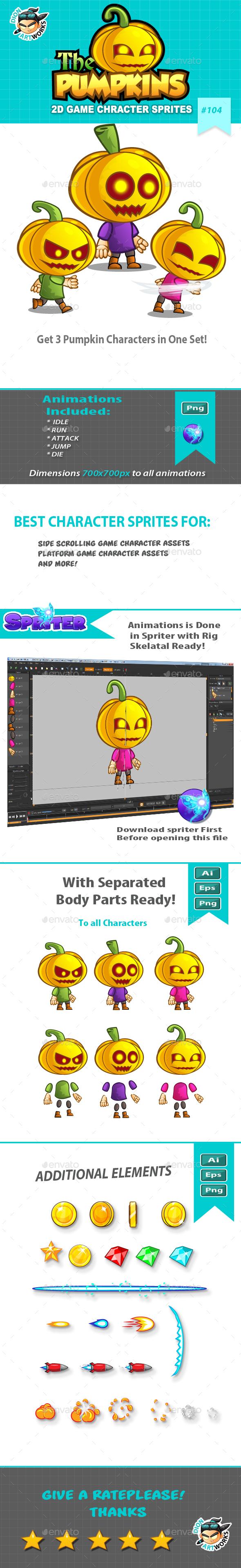 Pumpkins 2D Game Character Sprites (Sprites)