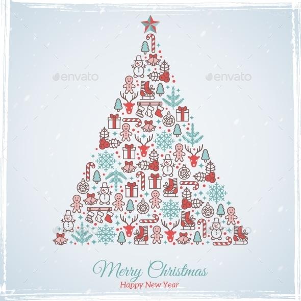 Christmas Card Design. Vector Illustration.