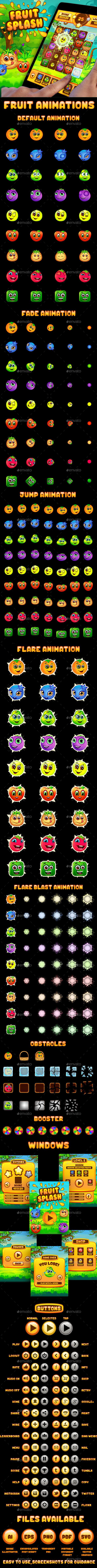Fruit Splash: Fruit Heroes Puzzle Game UI Kit (Game Kits)