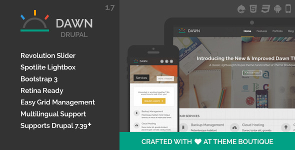 Dawn - Responsive Drupal Theme | Best Weekly Themes