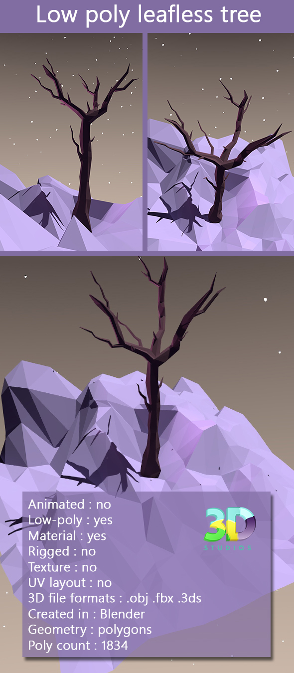 Low Poly Leafless Tree - 3DOcean Item for Sale