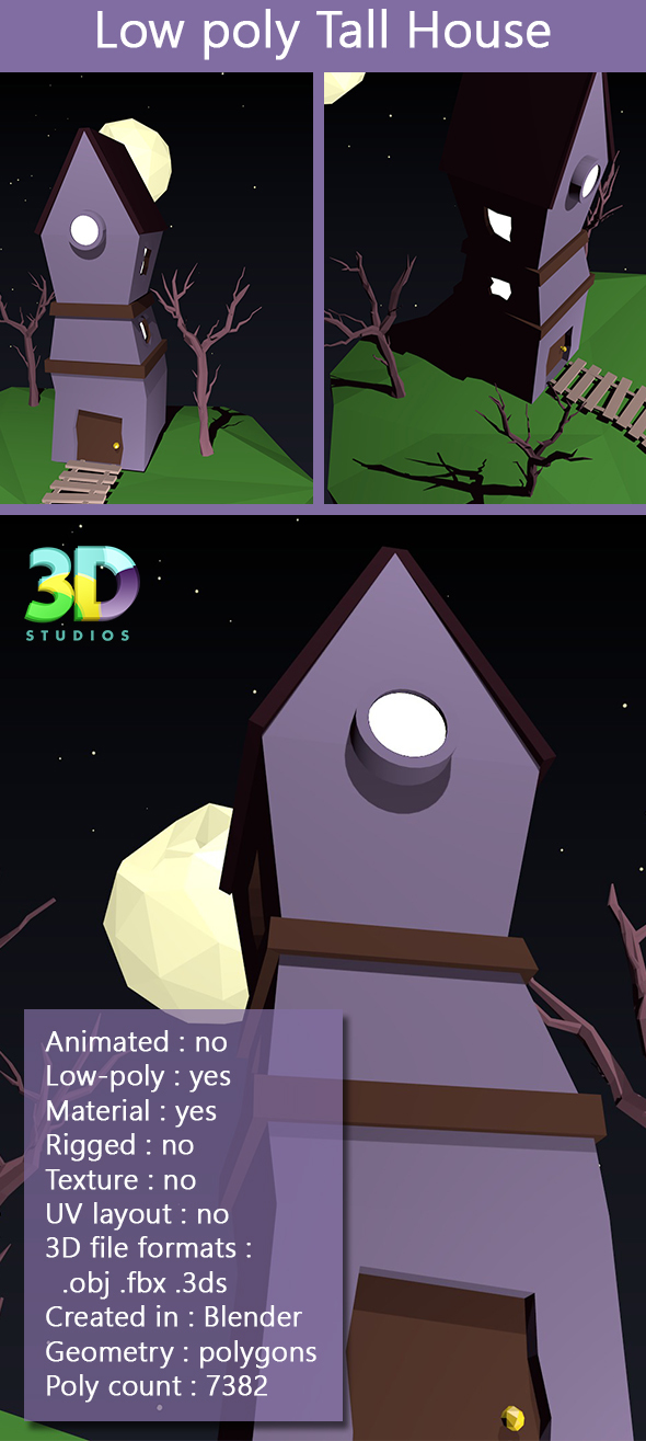 Low Poly Tall House - 3DOcean Item for Sale