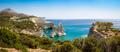 Panoramic seascape view of Kleftiko rocky coastline on Milos isl