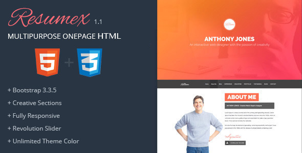 ResumeX Html - Multipurpose One Page Portfolio