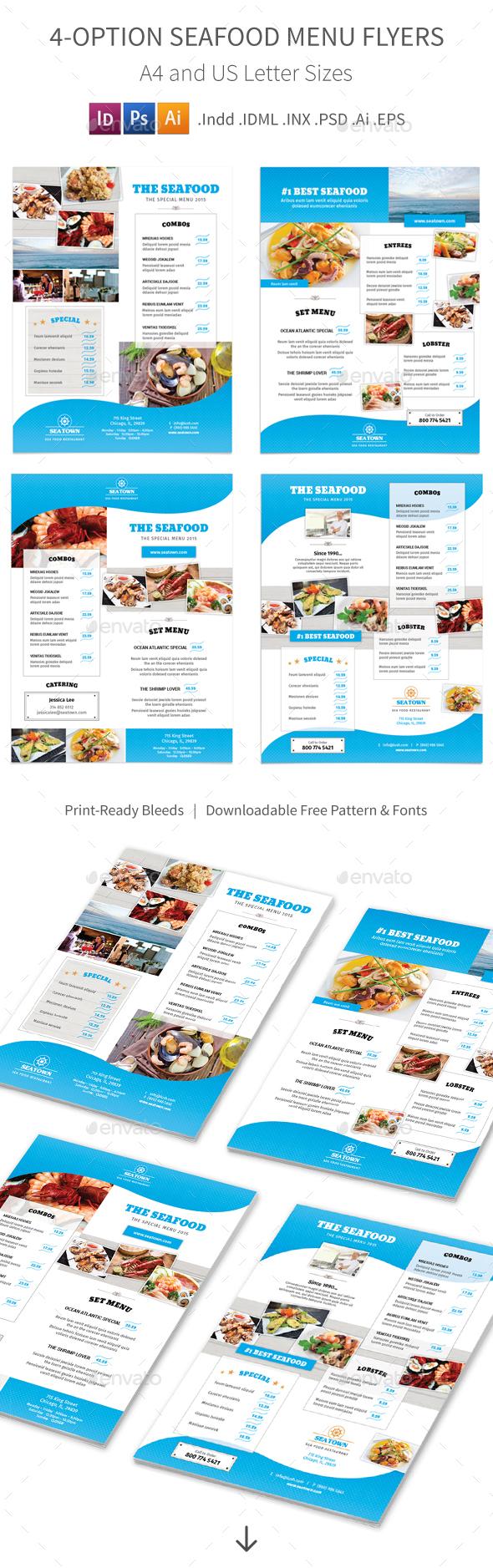 Seafood Restaurant Menu Flyers – 4 Options