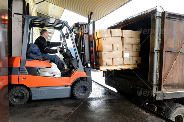 Stock Photo - PhotoDune Forklift in warehouse 1308659