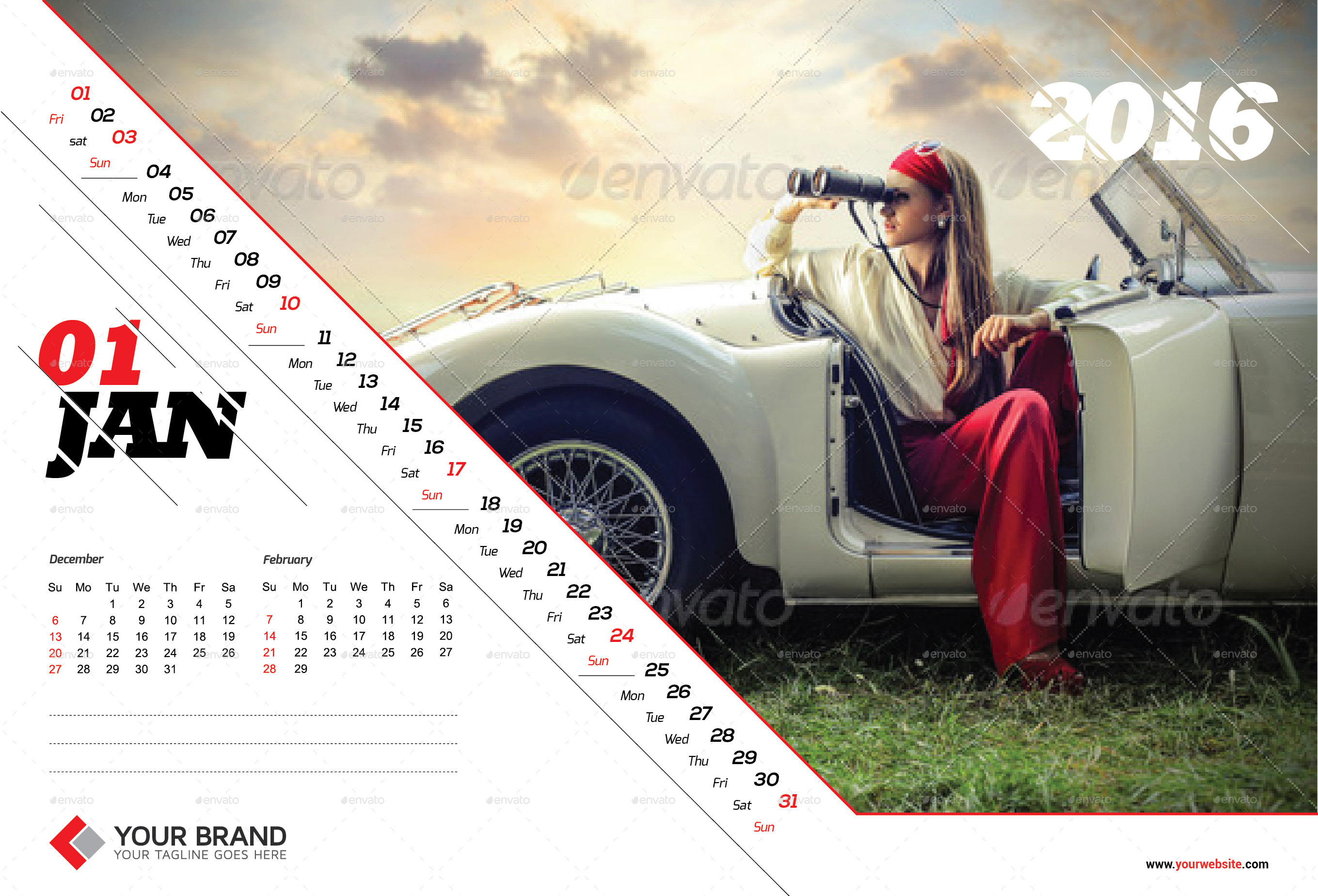 Corporate Calendar Design 2016 : Wall calendar design by olaylay graphicriver