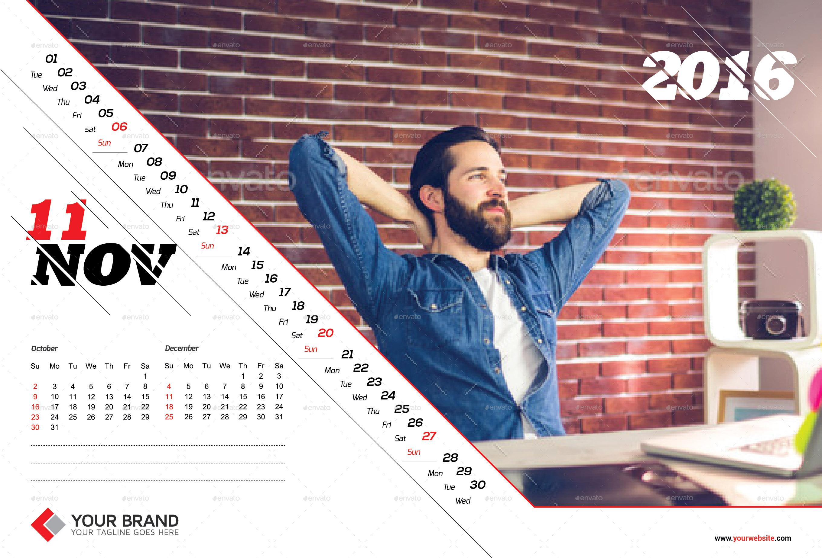 Corporate Wall Calendar Design Templates : Wall calendar design by olaylay graphicriver