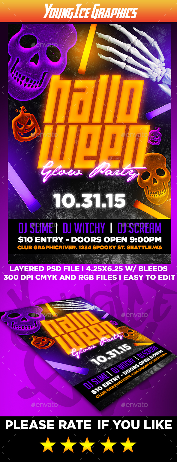 Halloween Glow Party Flyer Template