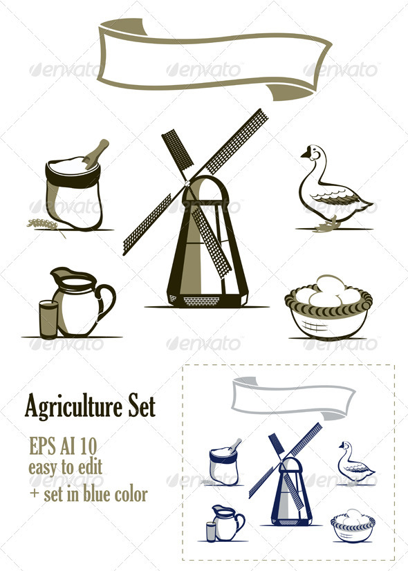 Agriculture Design Elements Set