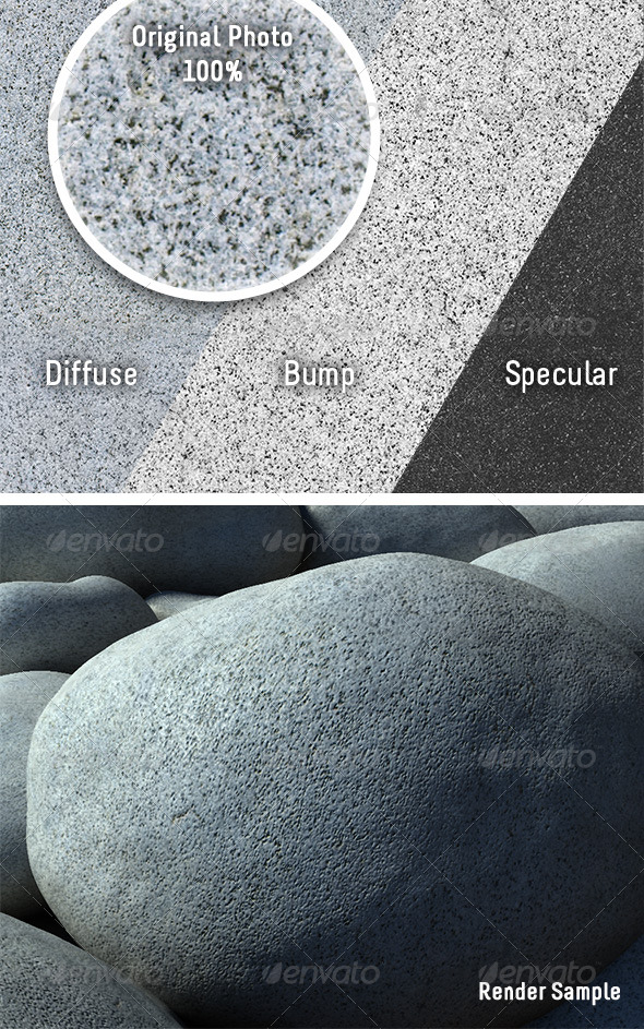 Tileable Granite Boulder - 3DOcean Item for Sale
