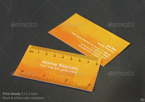Print Templates : Handy Business Card with Ruler Yellow-Orange