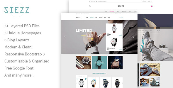 Siezz - Multipurpose E-Commerce PSD Template