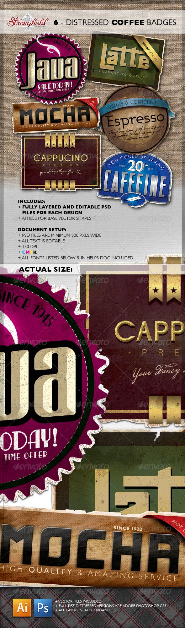 Vintage Distressed Coffee Badges - Badges & Stickers Web Elements